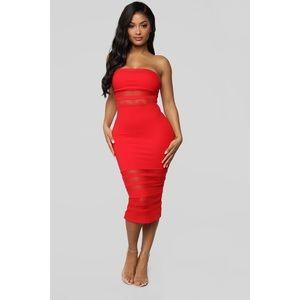 Fashion Nova A Little Meshed Up Midi Dress - L